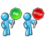 Clip Art Graphic of a Sky Blue Guy Character With Go and Stop Signs