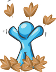 Clip Art Graphic of a Sky Blue Guy Character Throwing Leaves
