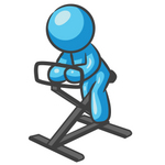 Clip Art Graphic of a Sky Blue Guy Character on a Stationary Bike