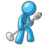 Clip Art Graphic of a Sky Blue Guy Character Singing With a Microphone on a Stand