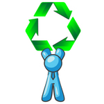 Clip Art Graphic of a Sky Blue Guy Character Holding Recycle Arrows