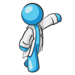 Clip Art Graphic of a Sky Blue Guy Character Doctor