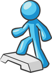 Clip Art Graphic of a Sky Blue Guy Character Stepping at the Gym