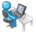 Clip Art Graphic of a Sky Blue Guy Character Using a Computer