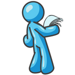 Clip Art Graphic of a Sky Blue Guy Character Reading a Notice