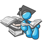 Clip Art Graphic of a Sky Blue Guy Character Graduate Reading