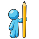 Clip Art Graphic of a Sky Blue Guy Character With a Pencil